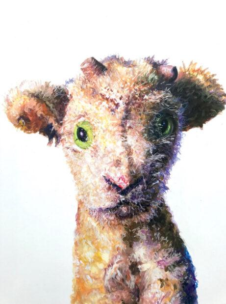 Ziege, 2020, Öl auf Nessel, 70 x 50 cm.